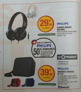 Casque Philips SHL3065 + Enceinte bluetooth Philips BT110 (via ODR 50%)