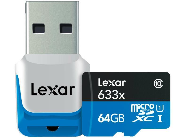 Carte microSDXC Lexar classe 10 633x - 64 Go + lecteur de carte USB 3.0