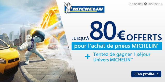"""Jusqu'à 80€ offerts en carte Kadéos pour l'achat de pneus Michelin - Ex : 40€ offerts en carte Kadéos pour l'achat de 2 pneus 17"""" et plus Michelin"""