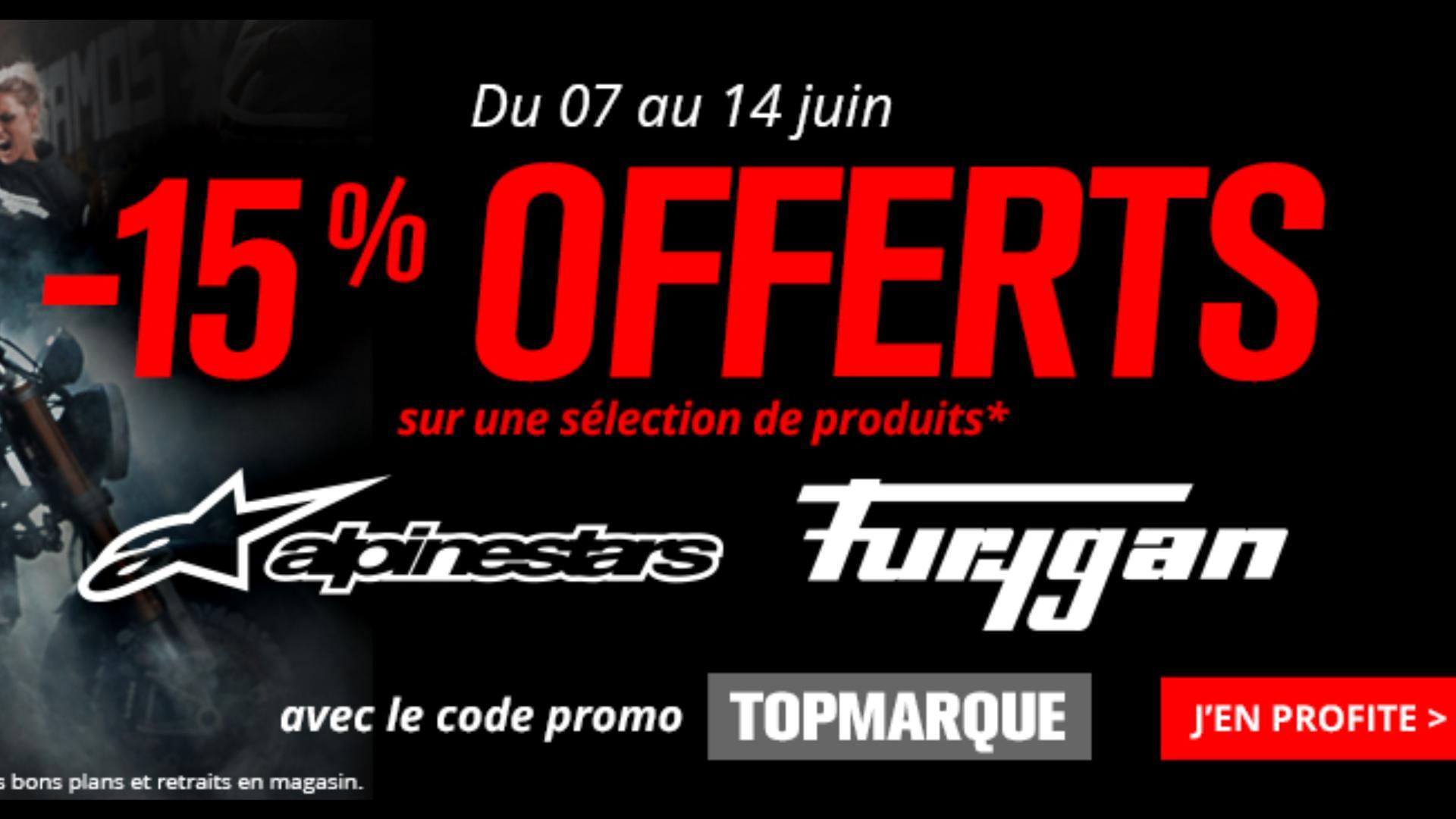 15% de remise sur les marques Alpinestars et Furygan