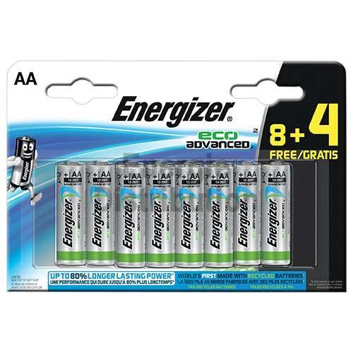 Lot de 12 (8+4) Piles LR6 Energizer Eco Advanced - AA, 1,5v.