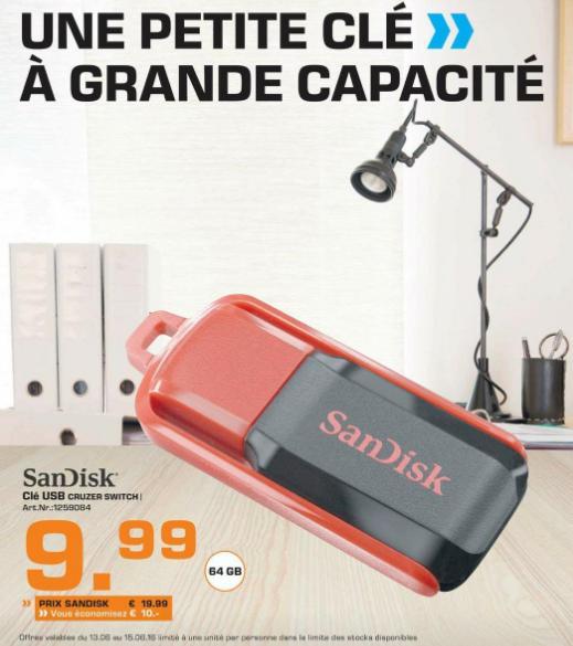 Clé USB 2.0 Sandisk Cruzer Switch -  64 Go