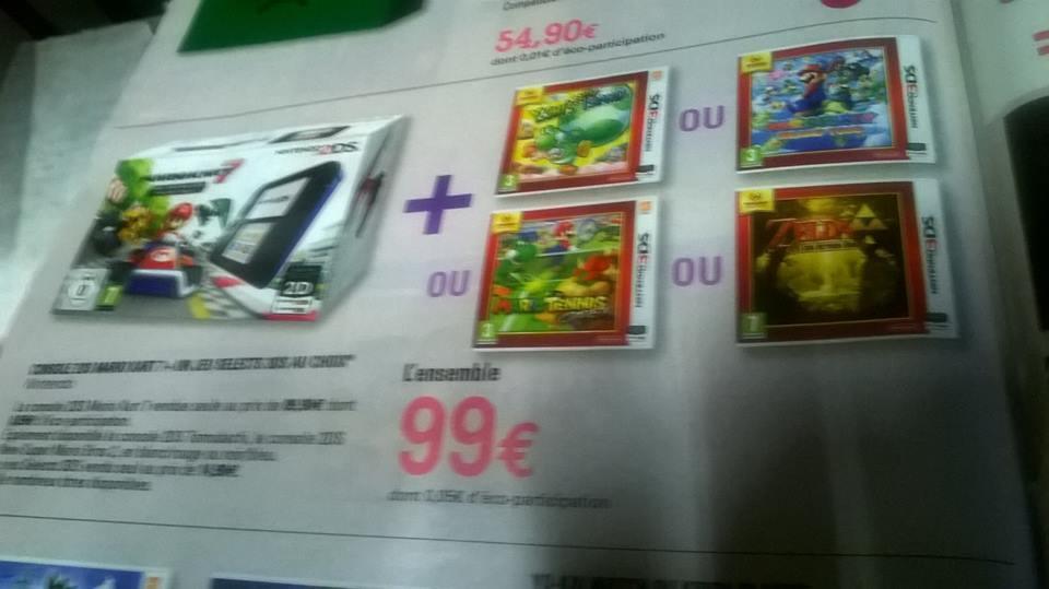 Console Nintendo 2DS Pack Mario Kart + 1 Jeu en boite au choix parmi 4 titres