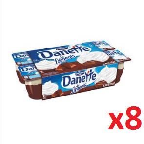Pack de 8 Danettes Le Liégeois  - Chocolat ou Chocolat/Saveur Vanille gratuit (via 0.97€ sur la carte fidélité)