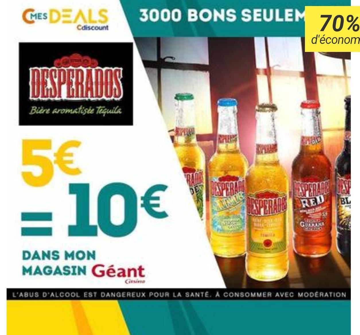 10€ à dépenser sur les produits Desperados