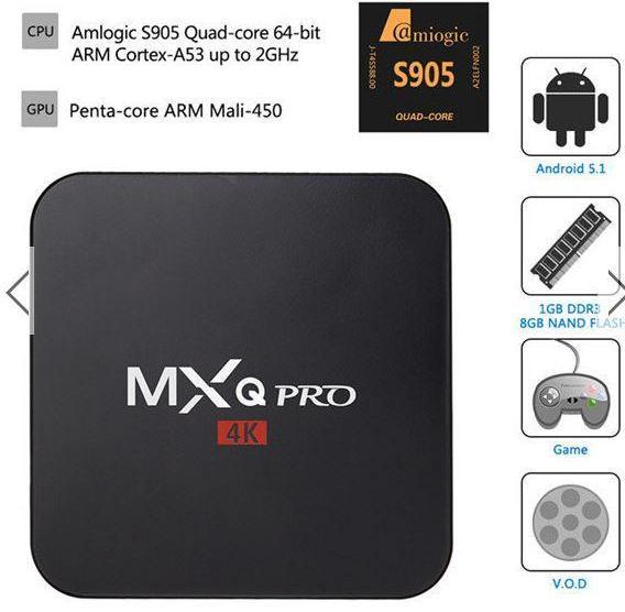 Box Android MXQ Pro 4K 5.1 Amlogic S905 - Quad Core, 1 Go / 8 Go