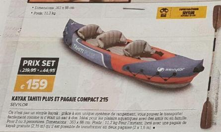 Kayak Sevylor Tahiti Plus + Pagaie Compact 215