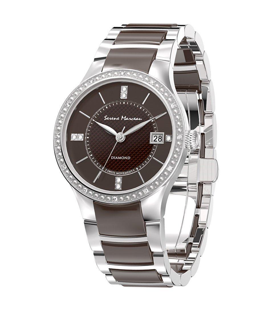 Sélection de montres Femme Serene Marceau Diamonds en promotion - Ex : Diamant (marron foncé / argenté)
