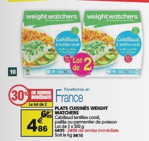 2 plats Weight Watchers (via BDR + Coupon Network)