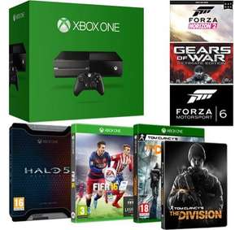 Pack Console Xbox One 500 Go + The Division + Fifa 16 + Halo 5 édition limitée + 3 jeux en téléchargement