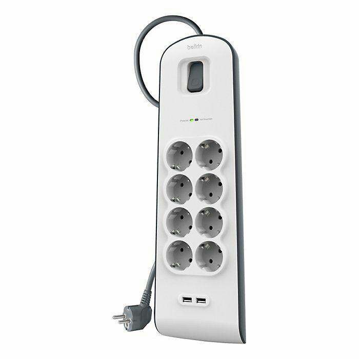 Multiprise parafoudre Belkin BSV804ca2M - 8 prises, 2 ports USB, 2m