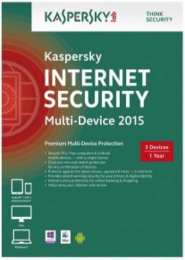 Licence 12 mois Kaspersky Internet sécurité - 3 postes