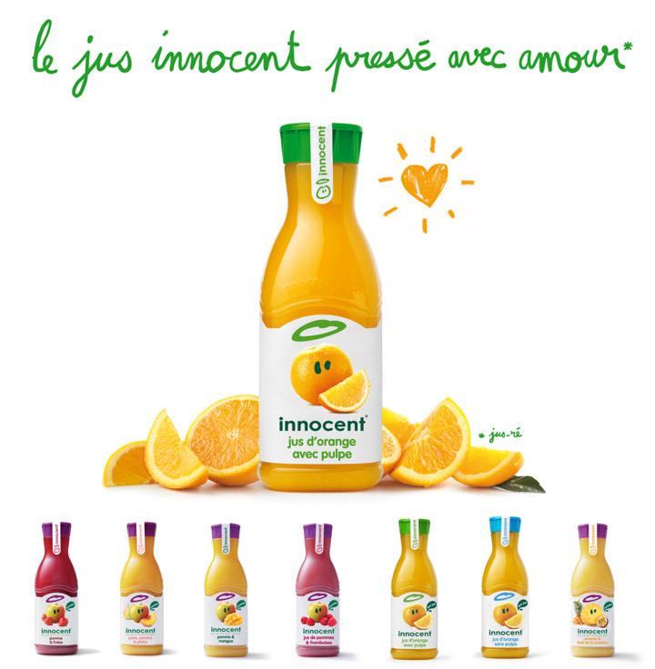 Bouteille de 900 ml de jus de fruits innocent