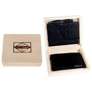 Billabong Crypt : Coffret en bois avec Portefeuille & Carnet en cuir + Stylo
