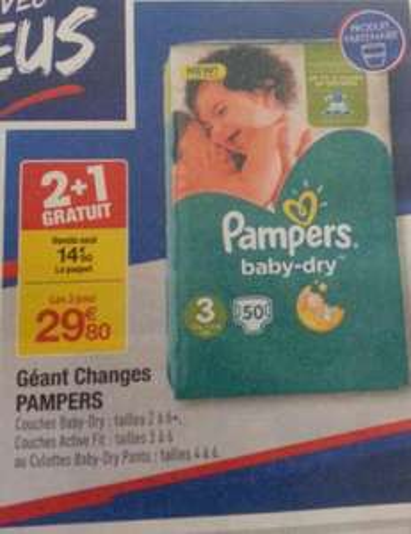 2 Packs de couches Pampers achetés = 1 Offert - Ex : 3 Packs de 50 Couches Pampers Baby-dry - Taille 3 (via BDR)