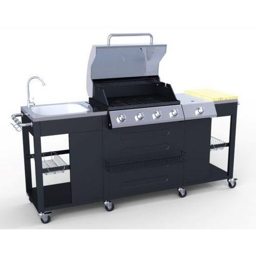 Cuisine extérieure (Barbecue) - 5 brûleurs + brûleur latéral + évier