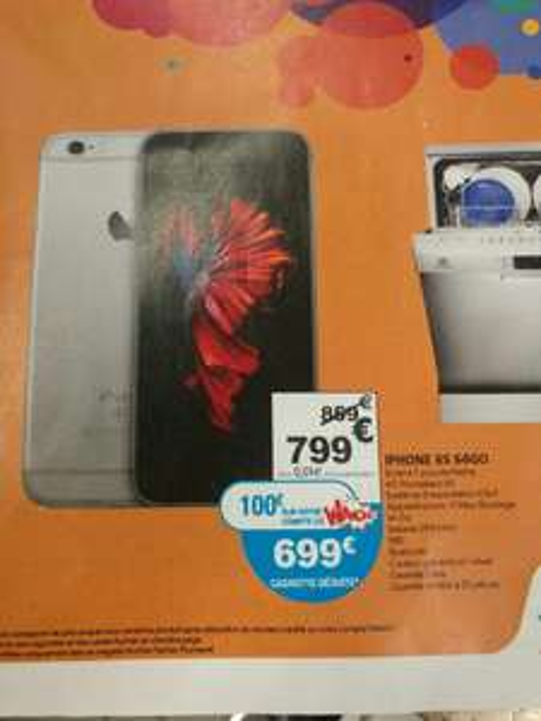 "Smartphone 4.7"" iPhone 6S - 64 Go (via 100€ sur la carte)"