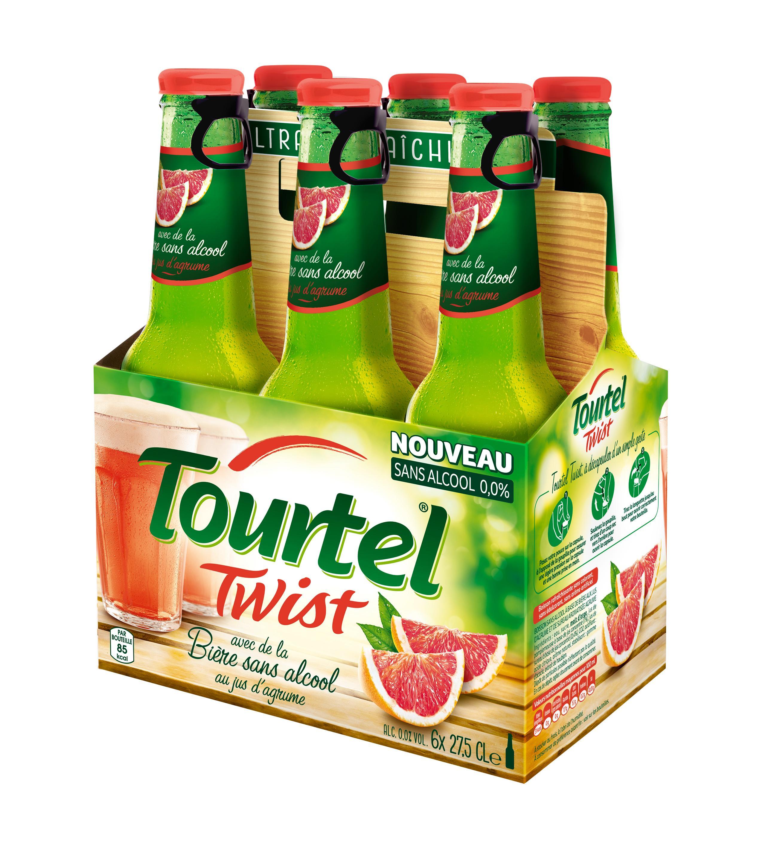 Lot de 4 packs de bière sans alcool Tourtel Twist - 6x27,5 cl (Citron, Orange Sanguine ou Pamplemousse)