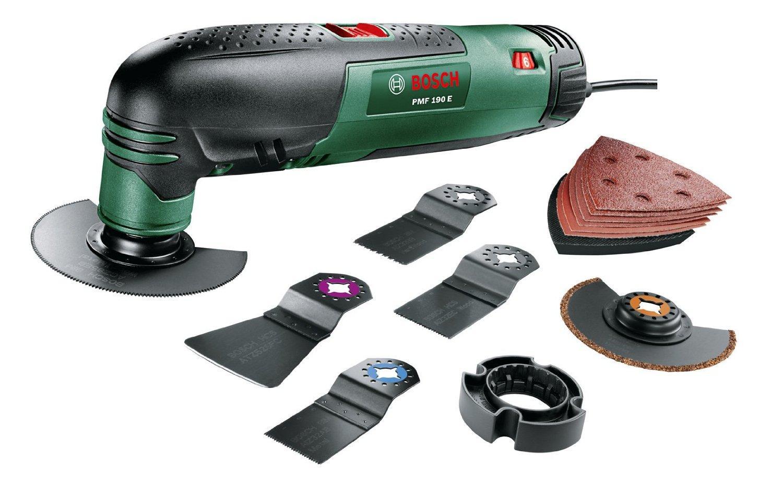 Outil multifonction Bosch PMF 190 E - Set avec coffret, 7 accessoires et 1 set de feuilles abrasives