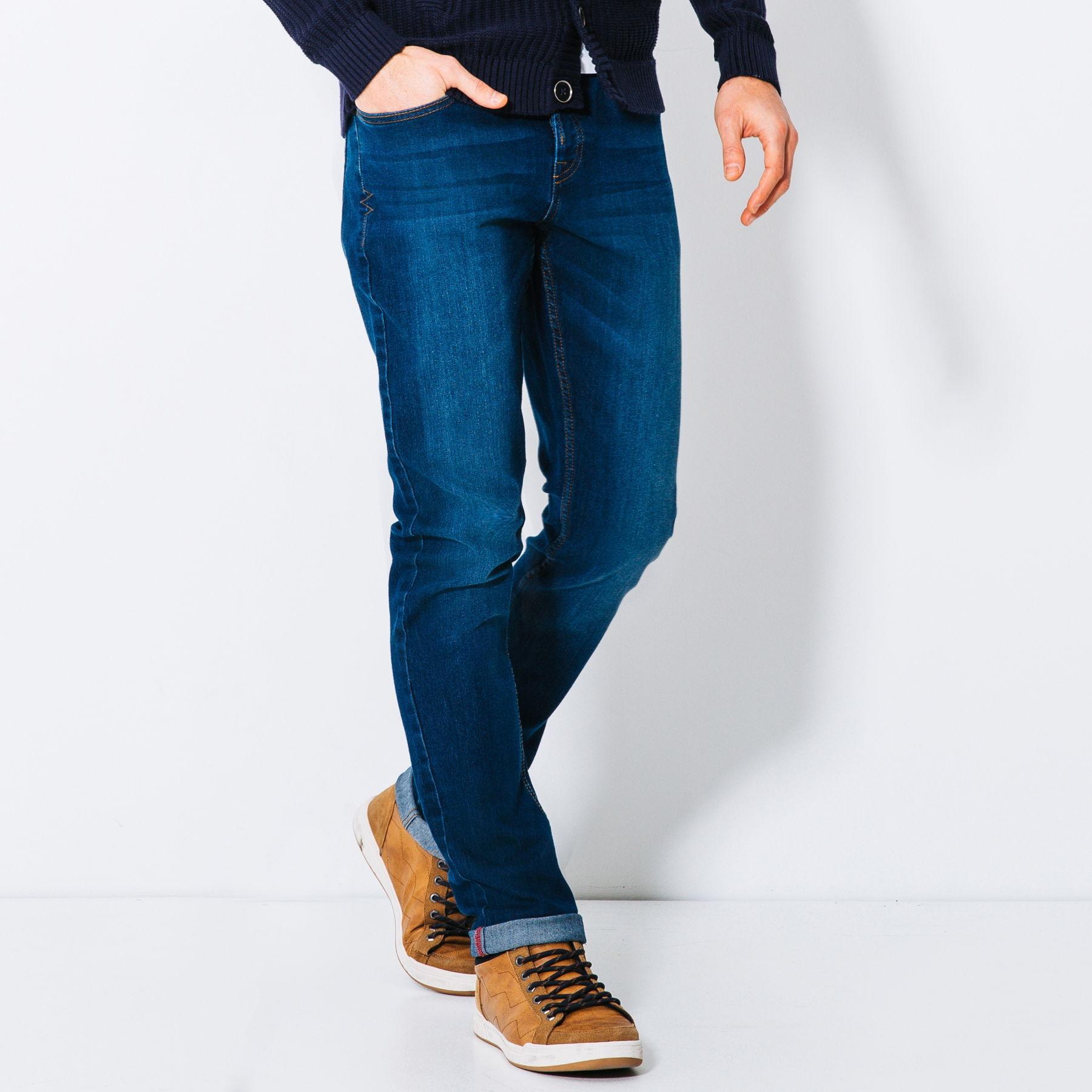 Jeans slim brossé (du 36 au 48, bleu moyen)