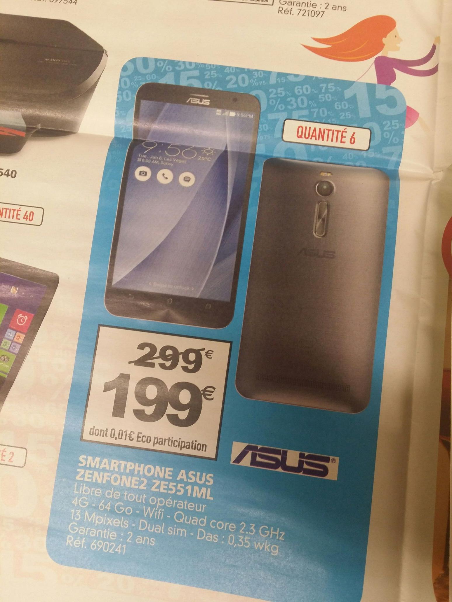 "Smartphone 5.5 ""Asus ze551ml 1080p (64 Go ROM, 4 Go RAM)"