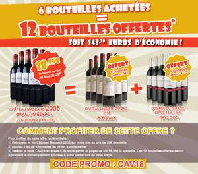 6 bouteilles de vin Haut-Médoc achetées = 12 offertes