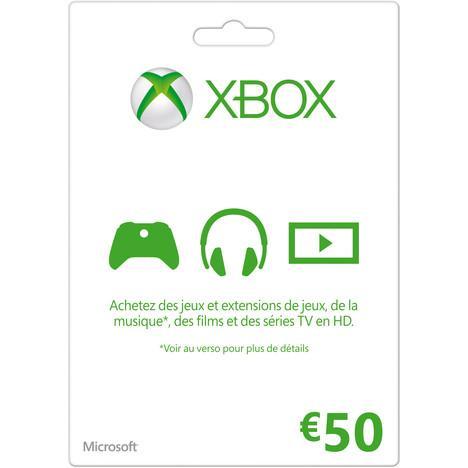 Sélection de cartes Microsoft Xbox live (10€, 25€, 50€) en promotion - Ex : Carte 50€