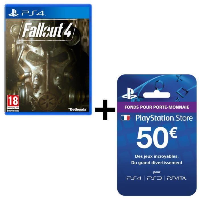 Jeu Fallout 4 sur PS4 + Carte PlayStation Store 50€