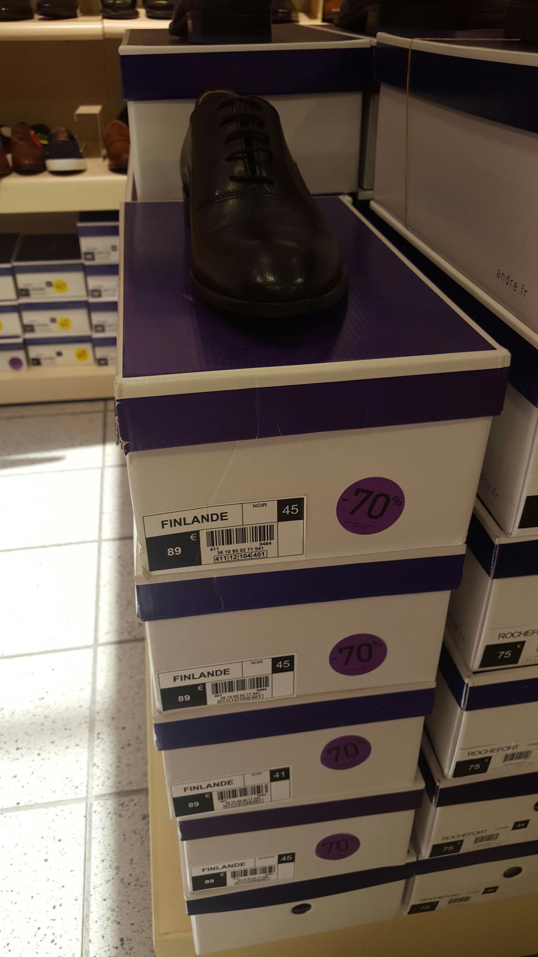 70% de réduction sur une sélection de chaussures - Ex : Chaussures en cuir Finlande