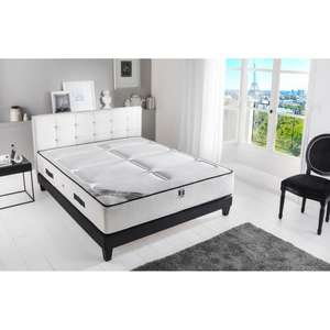 ensemble matelas sommier 2 personnes hotel luxe 160x200 cm ferme 792 ressorts a lattes. Black Bedroom Furniture Sets. Home Design Ideas