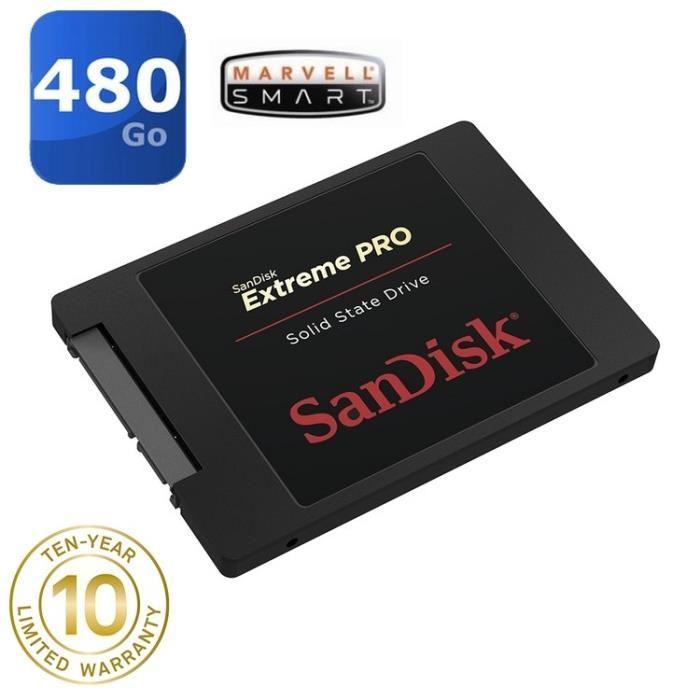 """SSD interne 2.5"""" SanDisk Extreme Pro (Mémoire MLC) - 480 Go"""