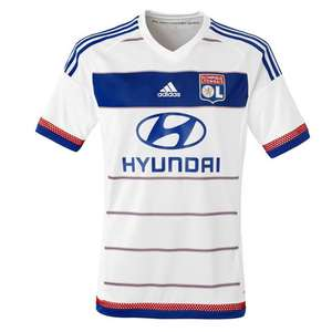 Sélection de maillots de football de l'OL en promotion - Ex : Maillot Adulte Domicile 15/16