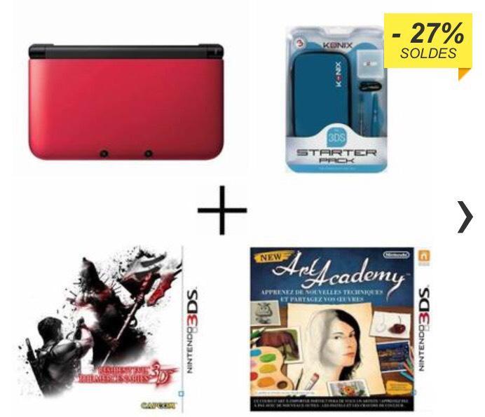 Pack Nintendo 3DS XL Rouge + New Art Academy Jeu 3DS + Resident Evil The Mercenaries Jeu 3DS + Pack d'accessoires Bleu Konix pour 3DS