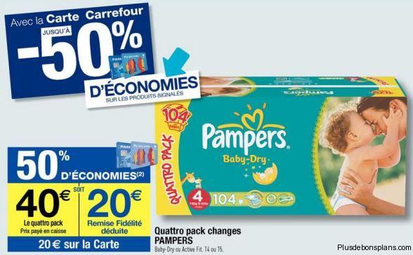 Couche bébé Pampers Baby-Dry ou Active Fit à -50% (Crédités sur carte de fidélité)