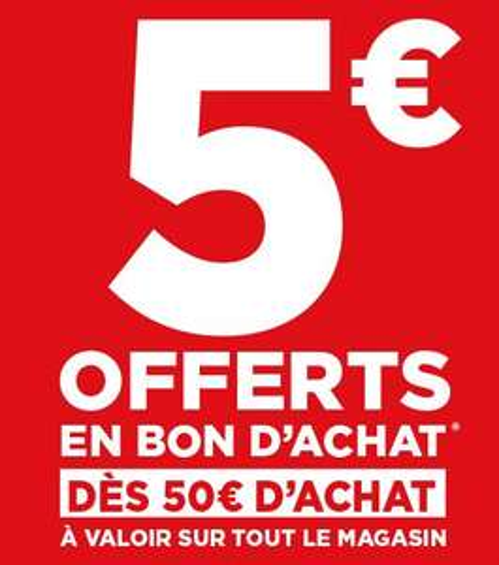 5€ offerts en bon d'achat dès 50€ d'achat sur tout