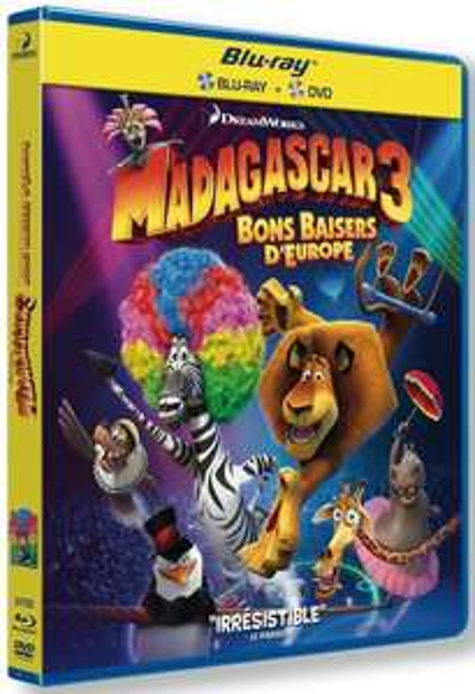 Combo BluRay + DVD Madagascar 3 Le Film