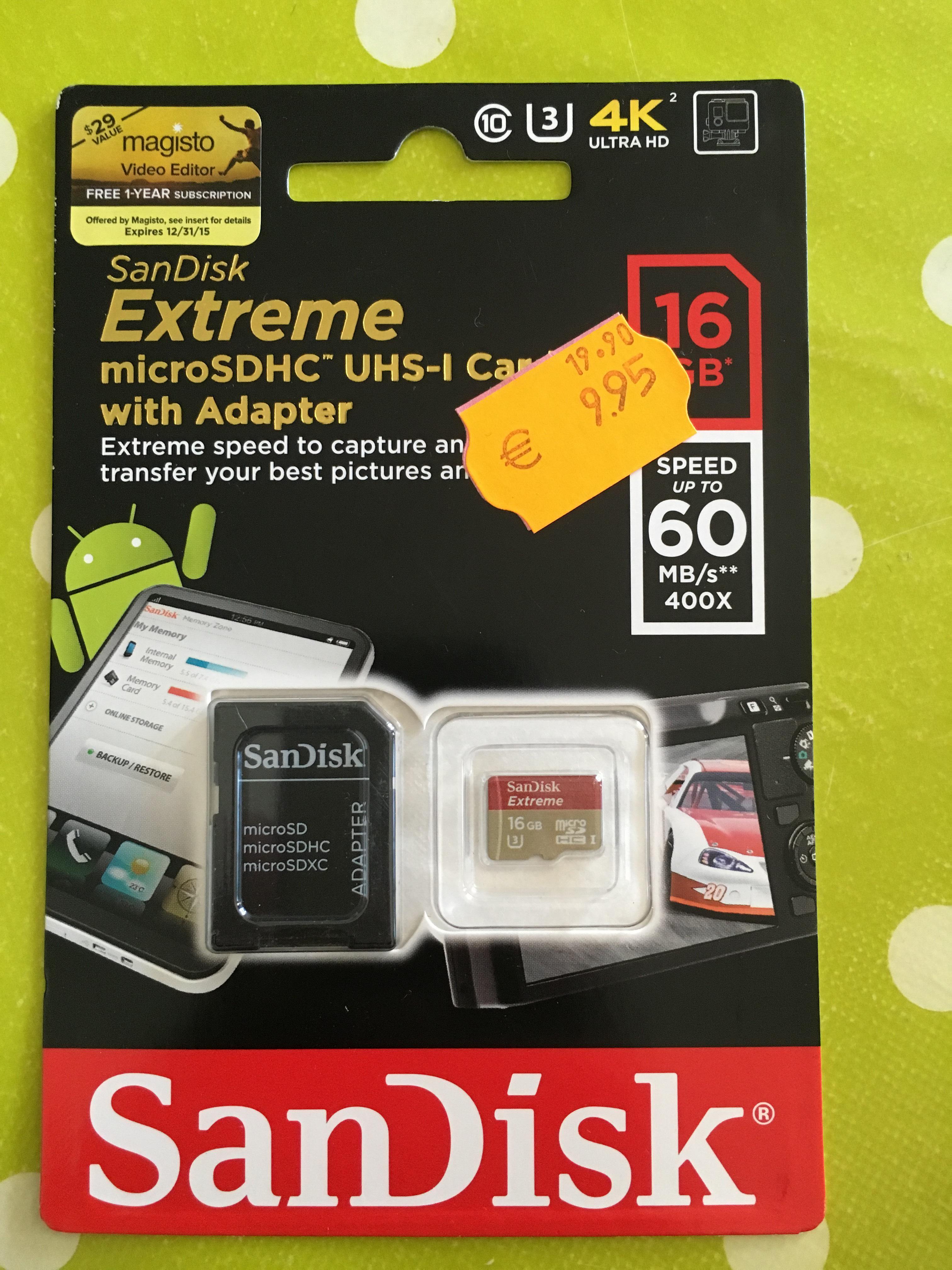 Sélection de cartes mémoires en promo - Ex : MicroSDHC Sandisk Extreme 16 Go