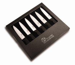 Pradel Excellence ST006 Set de 6 couteaux à Steaks en Boîte Cadeau Lame Céramique Ultra Coupante Manche Noir