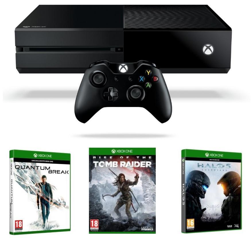 Pack Console Microsof Xbox One 500 Go + Quantum Break + Rise of the Tomb Raider + Halo 5 Guardians