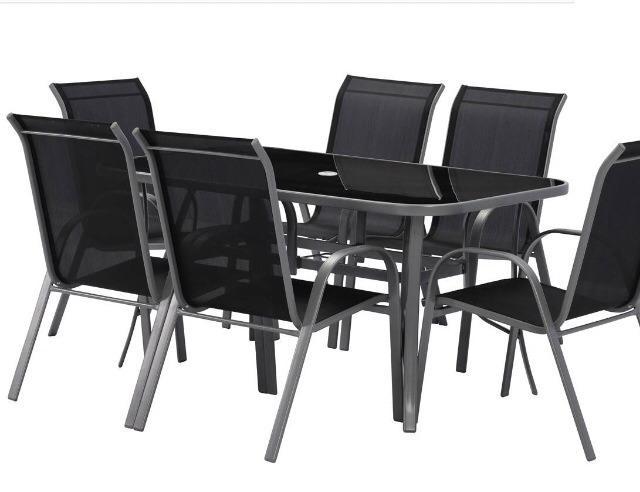 Salon de jardin en textilène Cordoba (1 Table + 6 fauteuils) - Noir