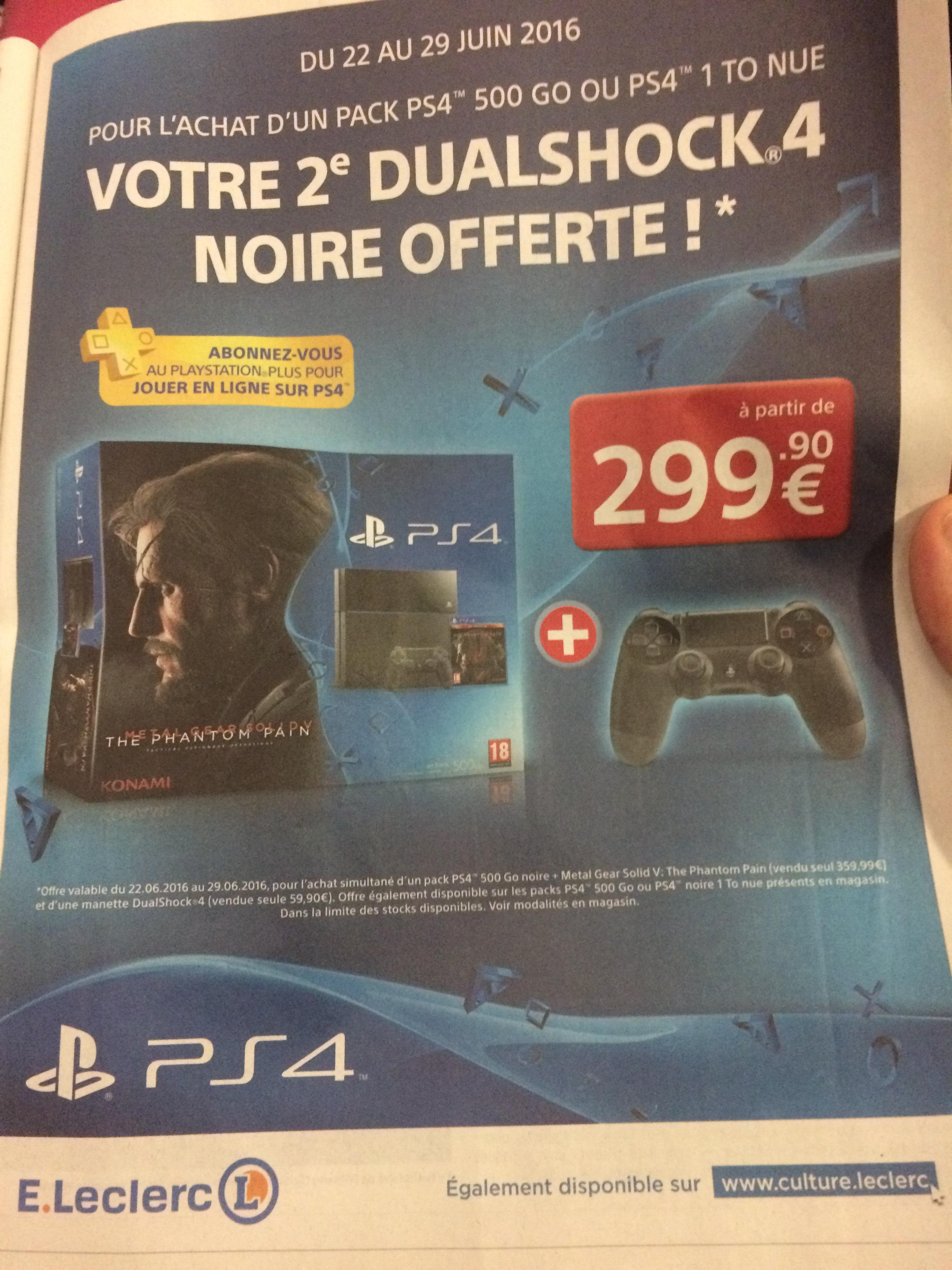 1 manette offerte pour l'achat d'un pack PS4 500 Go ou d'une PS4 1 To nue - Ex : Pack PS4 + Metal Gear Solid V + 2ème manette