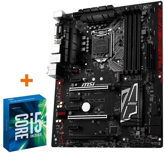 Carte mère MSI Z170A Gaming Pro Cardon + Processeur Intel i5 6600K (via ODR de 45€)