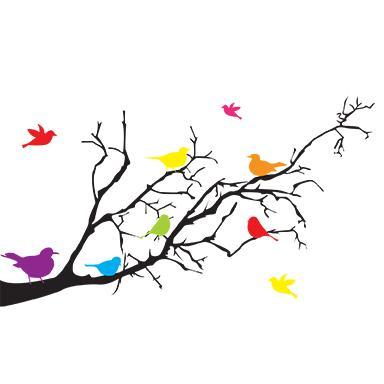 stickers muraux oiseaux sur branches (32 x 50 cm)
