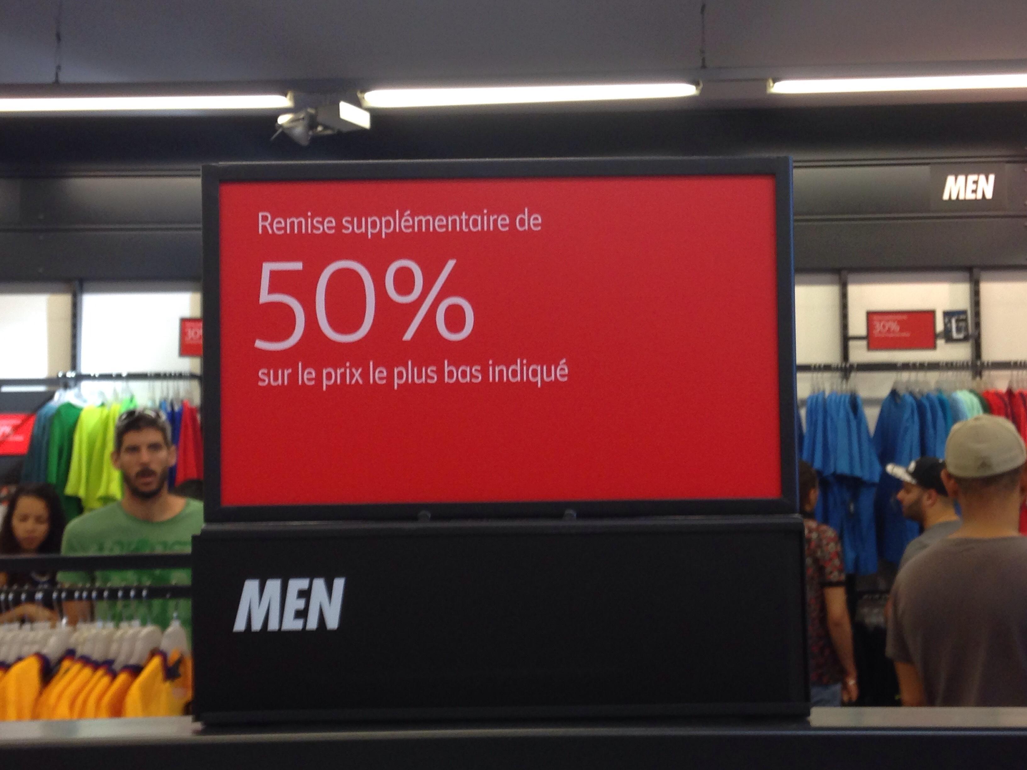 50% de réduction supplémentaire sur tout le magasin (sauf exceptions)