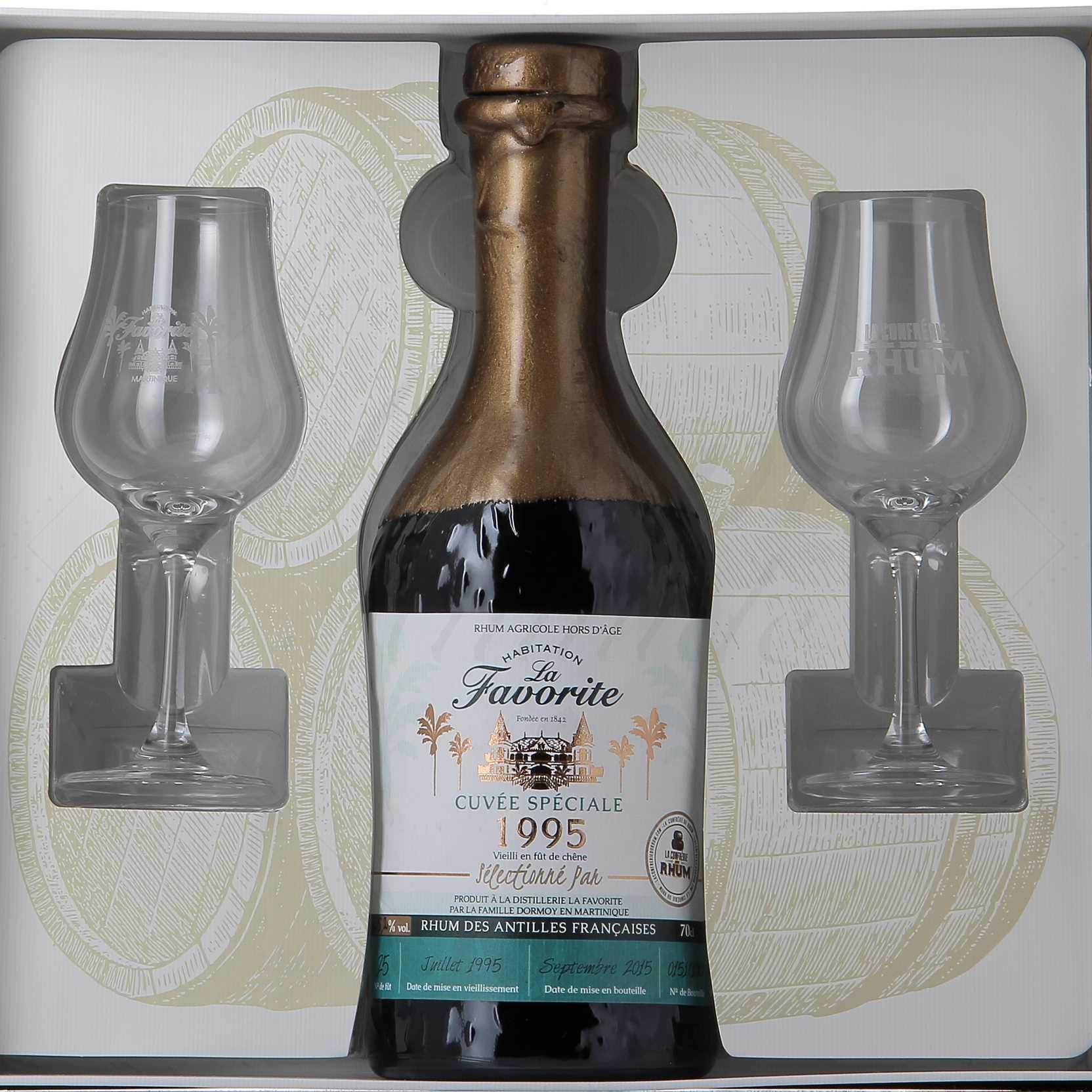 Sélection de bouteilles de Rhum en promotion - Ex : La Favortite (millésime 1995) - cuvée Confrérie du Rhum - 70 cl (différents fûts)