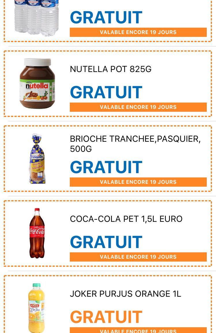 Sélection de produits gratuits - Ex : Pot de Nutella 825g gratuit (via l'application Heyo)