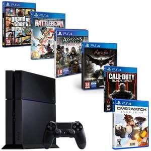Pack Console Sony PS4 500 Go + Overwatch + GTA V + Batman Arkham Knight + Call of Duty Black Ops 3 + Assassin's Creed Syndicate + Battleborn