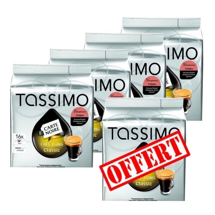 5 paquets de dosettes Tassimo Carte Noire Long Classique (5 x104 g)