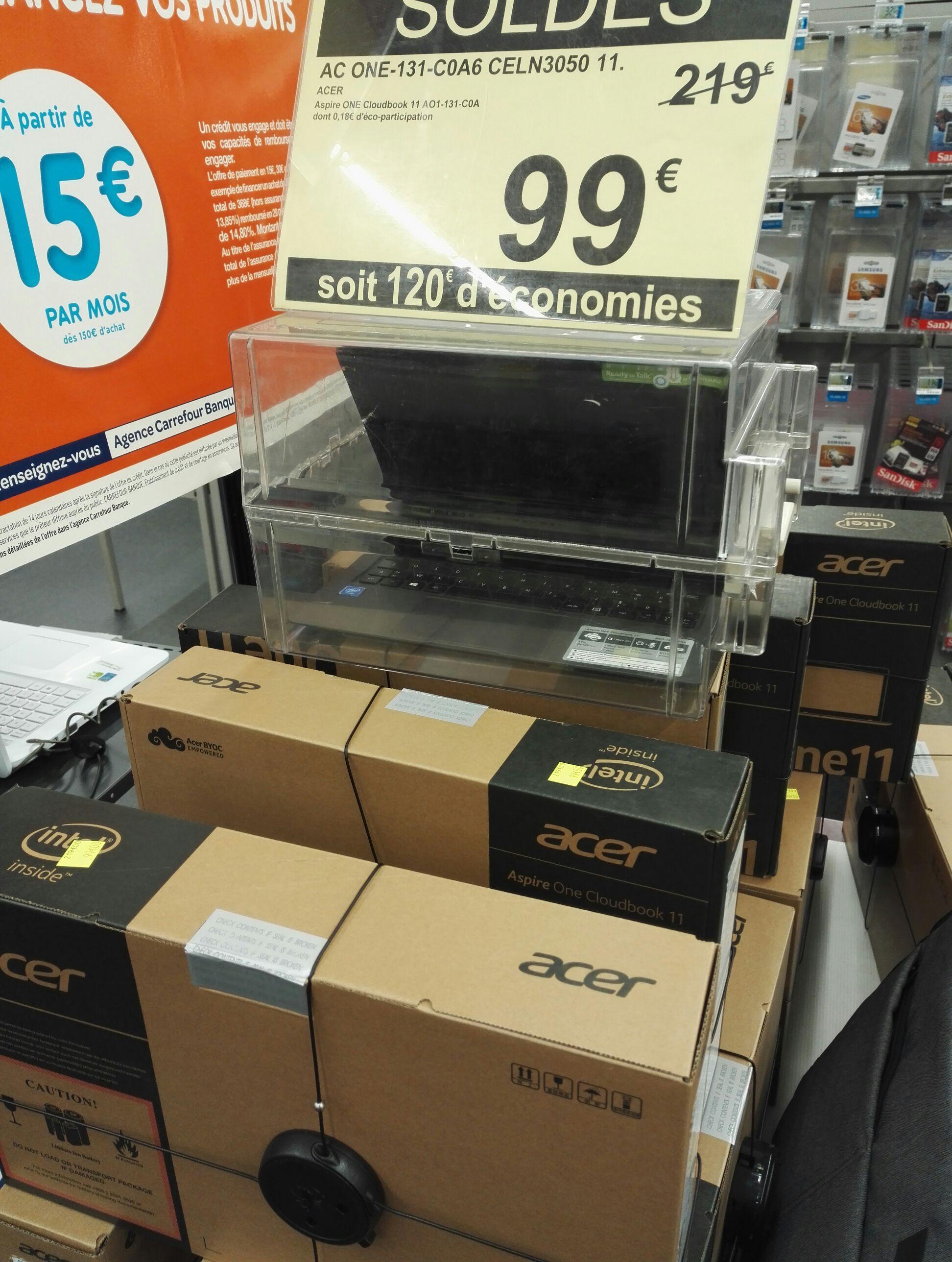 """PC Portable 11.6"""" Acer Aspire One Cloudbook AO1-131-C0A6 (Celeron N3050, 32Go eMMC, 2 Go RAM)"""