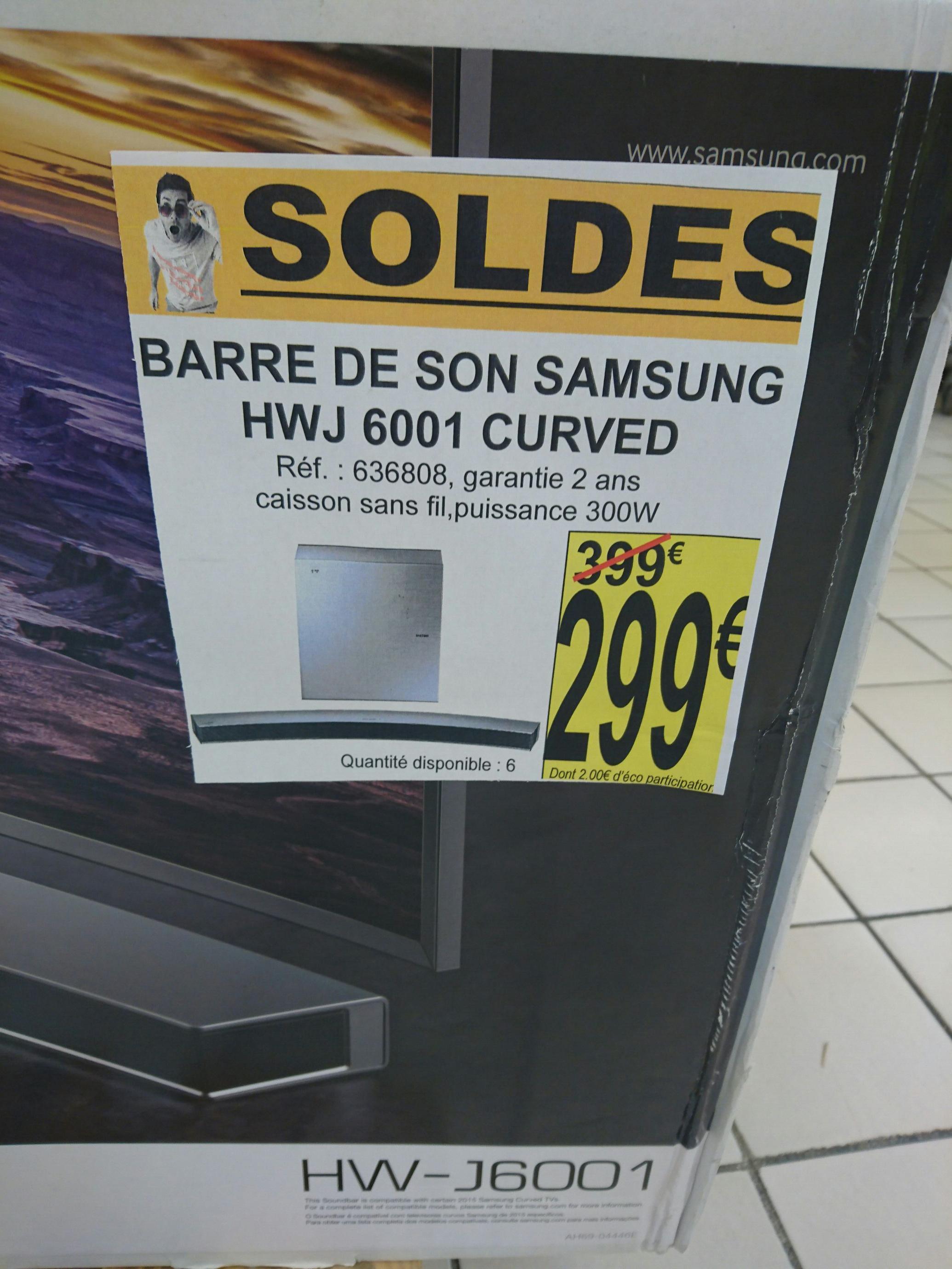 Barre de son Samsung HW-J6001 Curved (via ODR 30€)